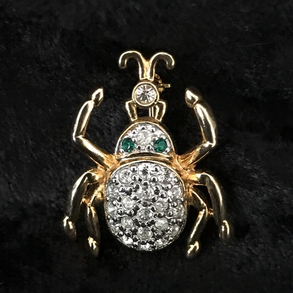 af41c5185 unmarked Jewelry | Crystal Beetle Bug Brooch Pin Pave Green Eyes ...